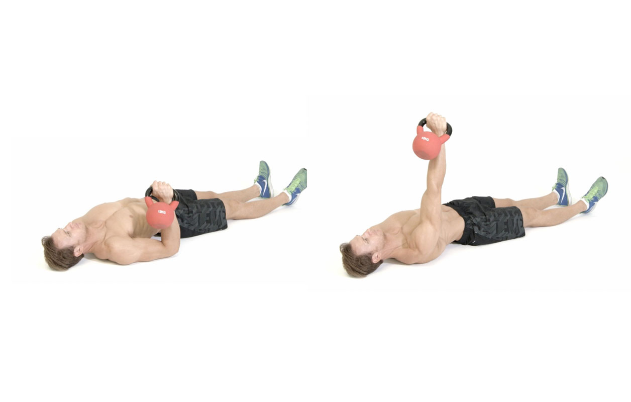 Floor press met kettlebell – borst